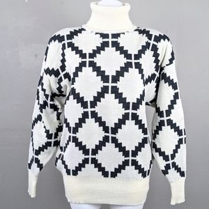 VTG Cream Gray Geometric Knit Lambswool Turtleneck